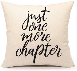 Book themed throw pillow is one of the best gifts for bookworms.