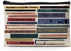 Bookish canvas pouch is one of the best gifts for bookworms.