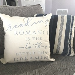Romance themed pillow is one of the best gifts for the romance book reader.