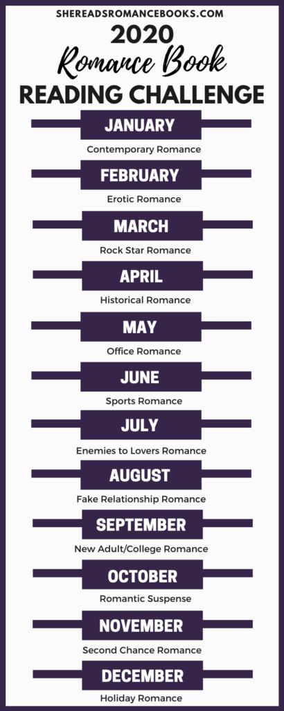 2020 Romance Book Reading Challenge Bookmark