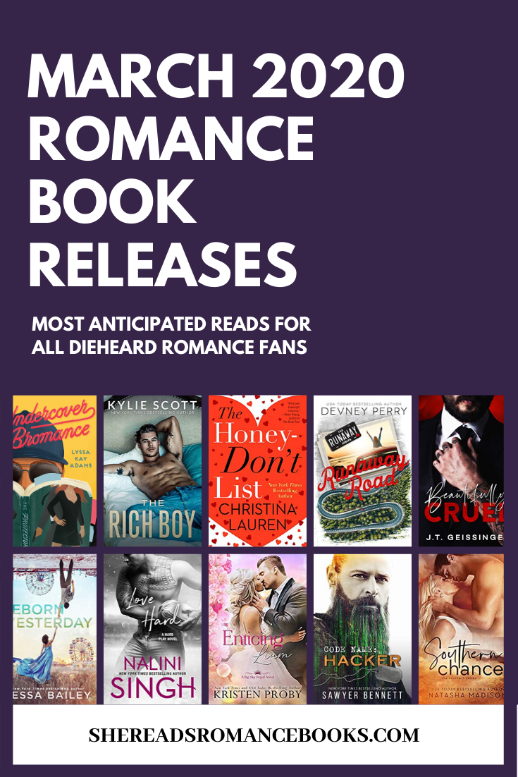 Book list of the most anticipated new romance book releases for March 2020.