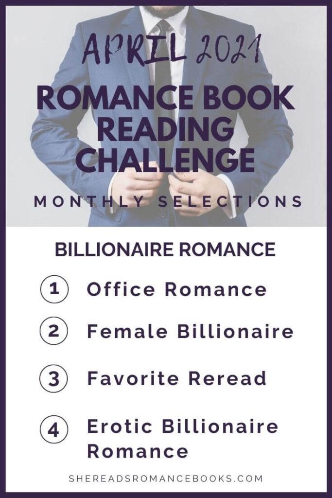 April 2021 Romance Book Reading Challenge monthly challenge list.