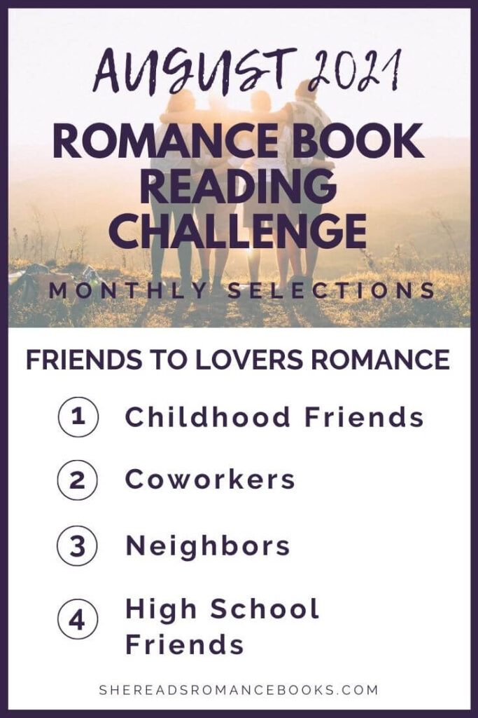 August 2021 Romance Book Reading Challenge monthly challenge list.