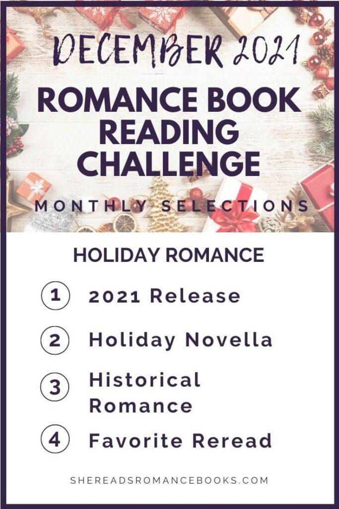 December 2021 Romance Book Reading Challenge monthly challenge list.