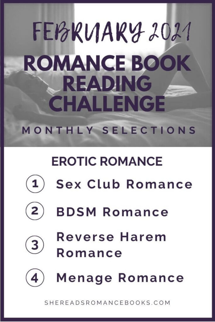 February 2021 Romance Book Reading Challenge monthly challenge list.