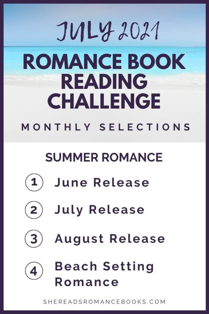 July 2021 Romance Book Reading Challenge monthly challenge list.