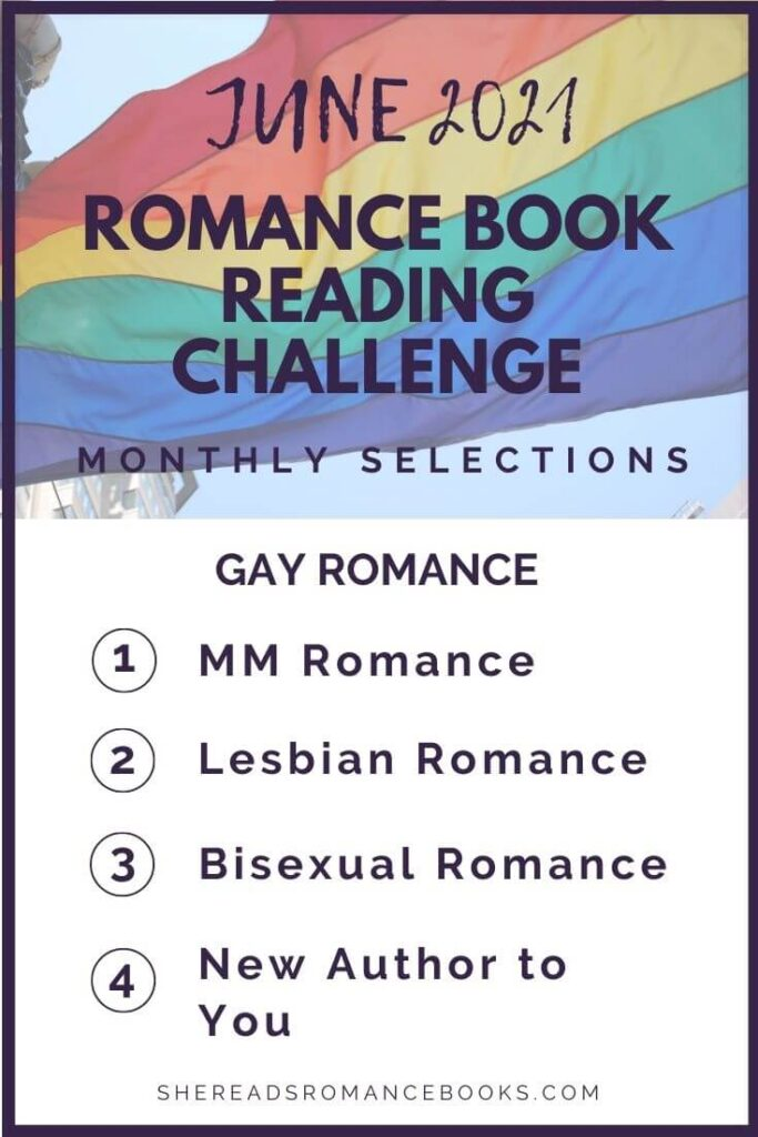 June 2021 Romance Book Reading Challenge monthly challenge list.