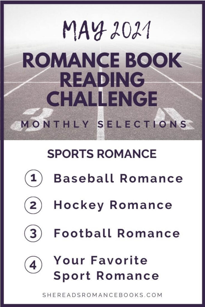 May 2021 Romance Book Reading Challenge monthly challenge list.