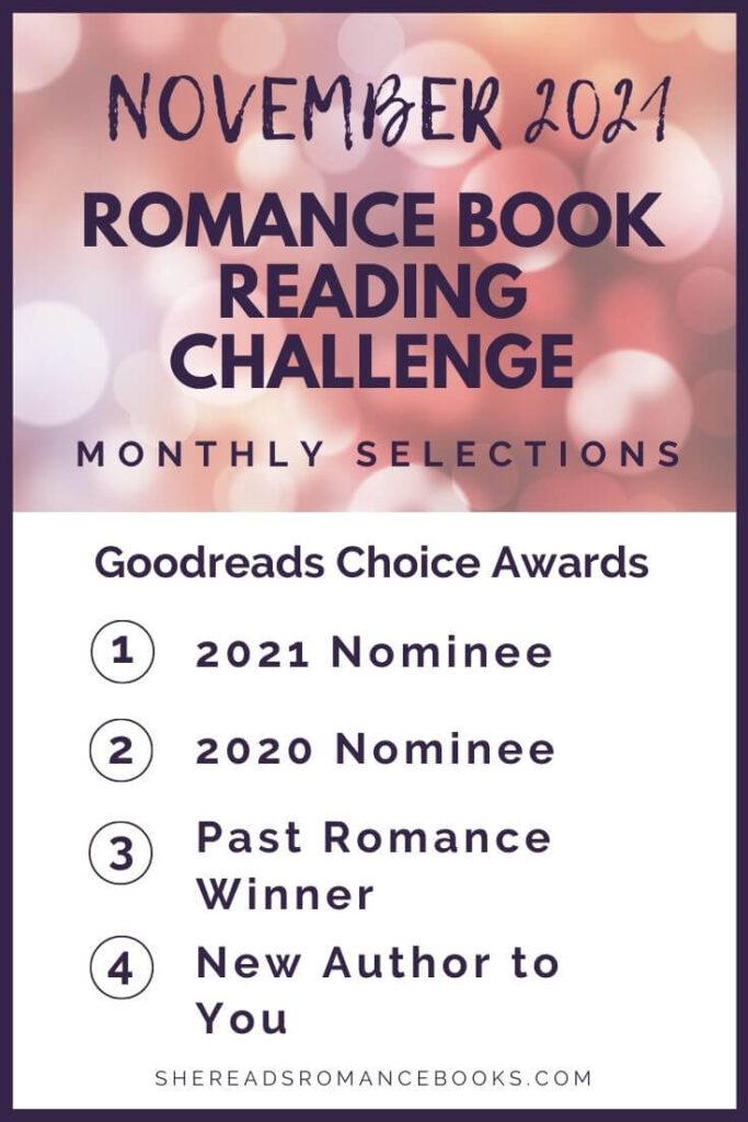 November 2021 Romance Book Reading Challenge monthly challenge list.