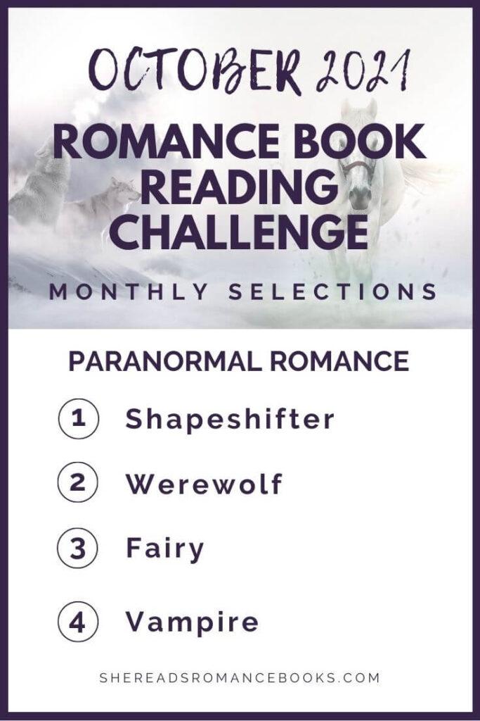 October 2021 Romance Book Reading Challenge monthly challenge list.