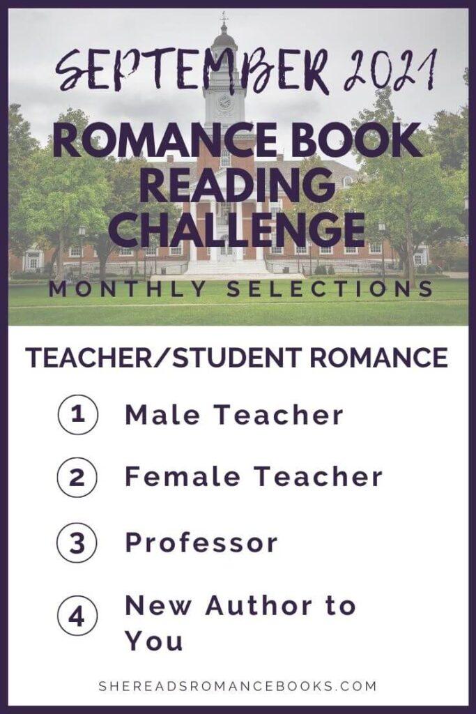 September 2021 Romance Book Reading Challenge monthly challenge list.
