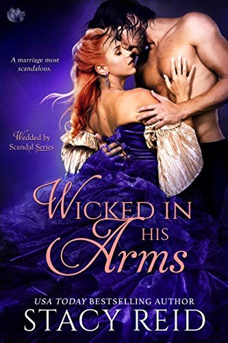 Wicked in His Arms historical romance book cover.